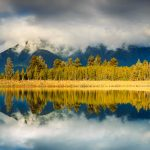 Panoramic Lake Matheson, South Island, New Zealand