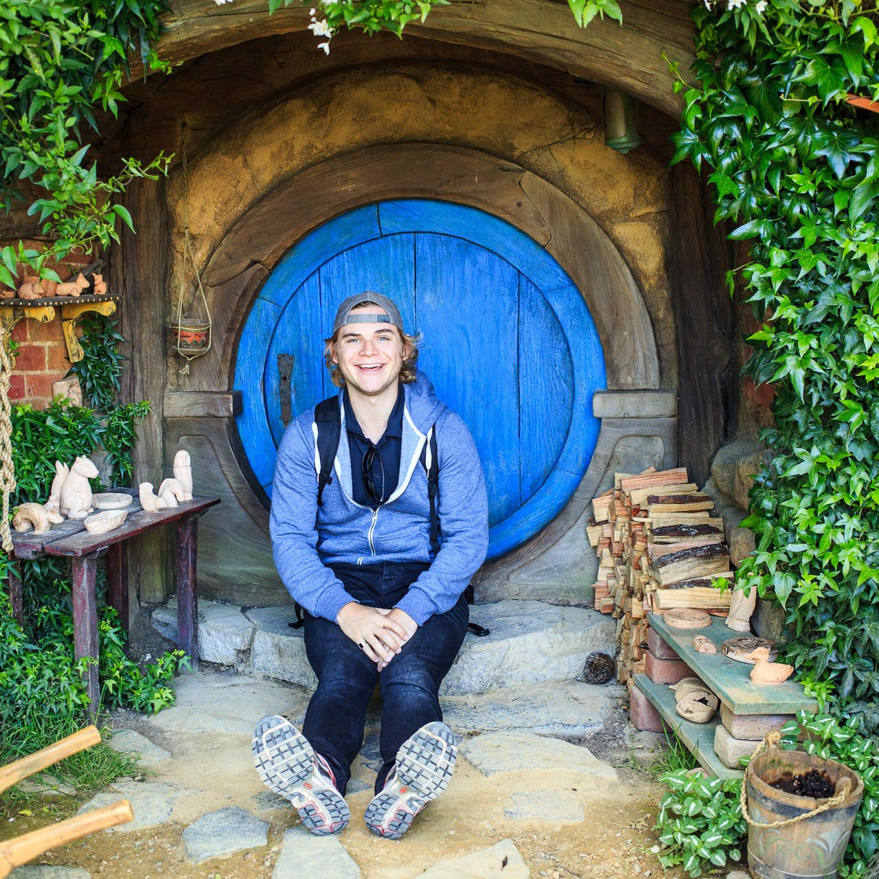 Sitting at Hobbiton, New Zealand