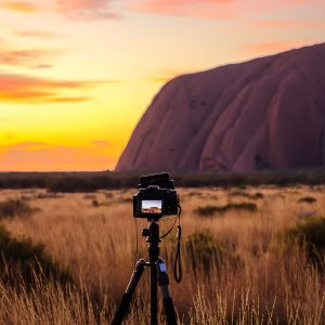 Sirui W-1204 tripod in Uluru at sunrise from the sunset carpark Australia