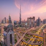 Dubai City and Burj Khalifa Sunset, Dubai, UAE
